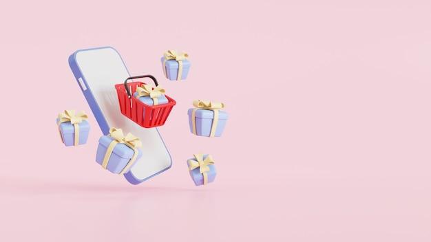 赤い買い物かごとギフトボックスは、ピンクの背景に、オンラインショッピングのコンセプトデザインのためにスマートフォンの上に浮かんでいます。 3dレンダリングイラスト