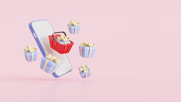 Red shopping baskets and gift boxes float in the air above a smartphone for online shopping concept design, on pink background. 3d render illustration