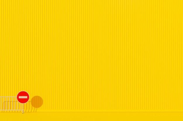 黄色の壁に赤い看板