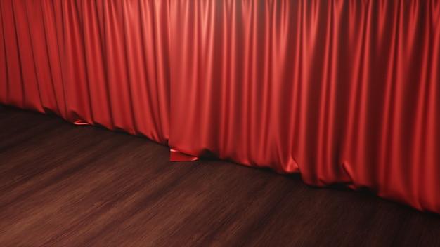 붉은 실크 커튼이 닫혔습니다. 극장 및 영화관 개념. 연극 무대 · 공연 전 공개