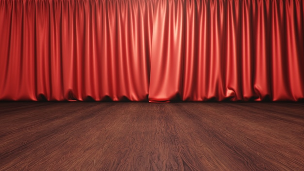 Red silk curtains closed. theater and cinema concept. theater stage, performance in front public