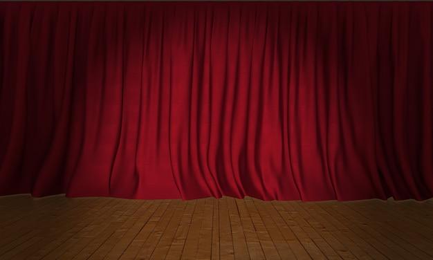 スポットライトが付いている木の舞台背景の赤い絹のカーテン