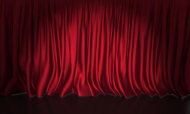 スポットライトと赤い絹のカーテンステージの背景