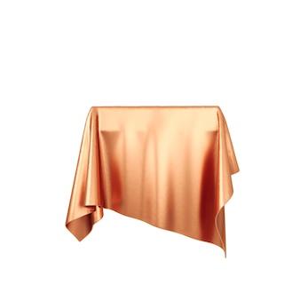 Подиум постамента красной шелковистой ткани изолированный на белой предпосылке. 3d-рендеринг.