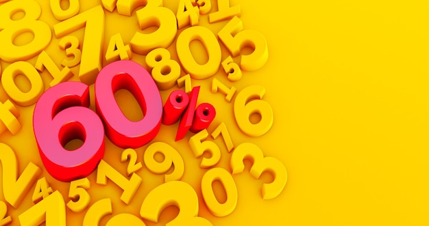 Red sixty percent on a yellow background numbers. 3d render. 60 %