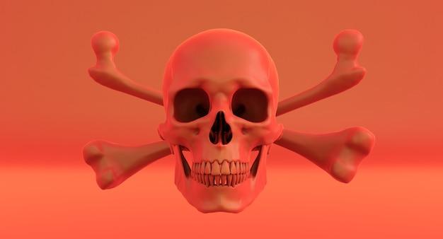 Красный череп и скрещенные кости, изолированные на черном красном.