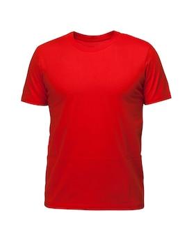빨간 민소매 티셔츠. 흰색 배경에 t-셔츠 전면 보기 세 위치
