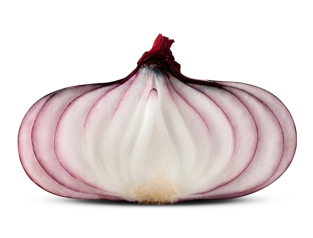 Red sliced onion isolated on white