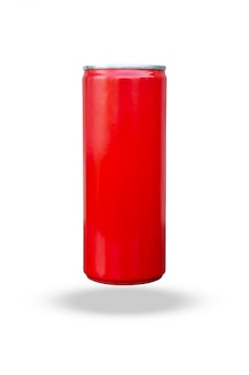 Красная тонкая банка на белом фоне с отсечения путь
