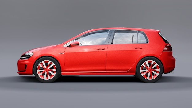 Красный небольшой семейный автомобиль хэтчбек на сером фоне. 3d-рендеринг.