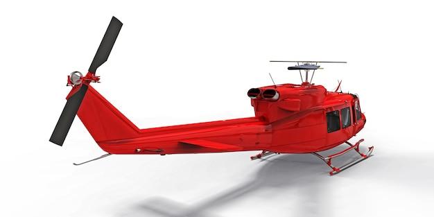 격리 된 흰색 배경에 빨간색 작은 군사 수송 헬리콥터 에어 택시 3d 그림