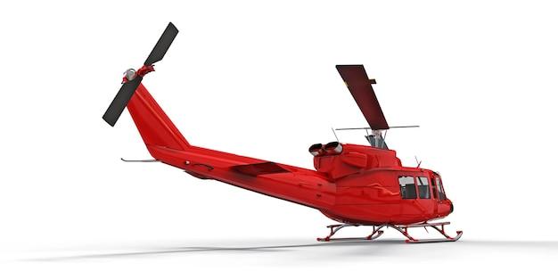 격리 된 흰색 배경에 빨간색 작은 군사 수송 헬리콥터. 헬리콥터 구조 서비스. 에어택시. 경찰, 소방, 구급차 및 구조 서비스를 위한 헬리콥터. 3d 그림입니다.