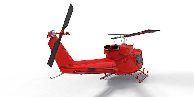 白い孤立した背景に赤い小さな軍用輸送ヘリコプター