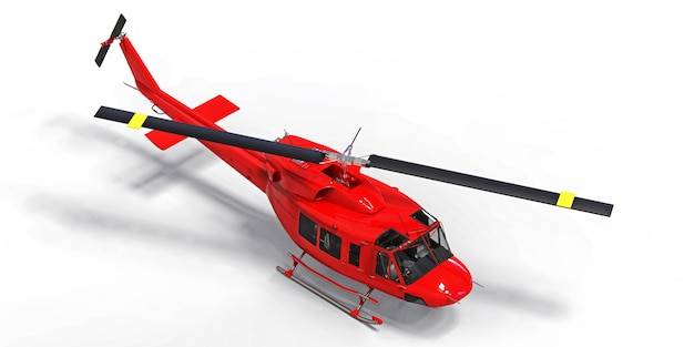 Red small military transport helicopter on white isolated space. the helicopter rescue service. air taxi. helicopter for police, fire, ambulance and rescue service. 3d illustration.