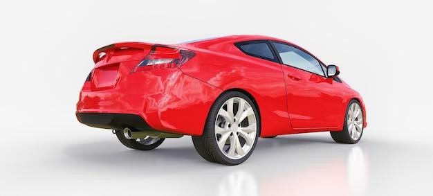빨간색 작은 스포츠카 쿠페 3d 렌더링