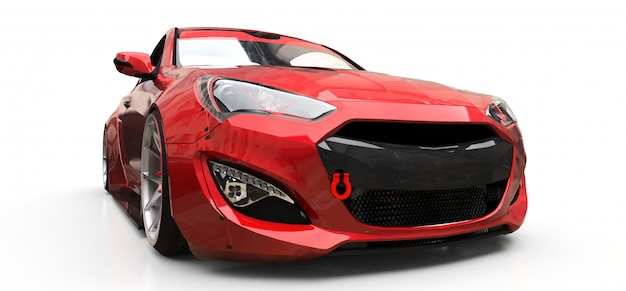 Red small sports car coupe on white background