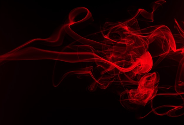 Red smoke abstract on black background, fire design