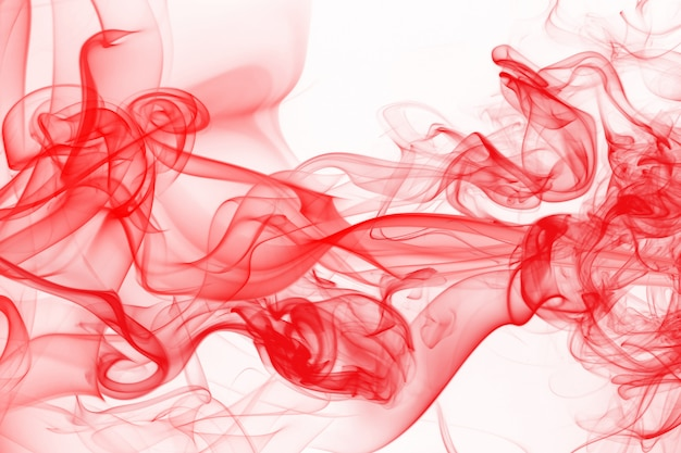 Red smoke abstract on white background, ink water color