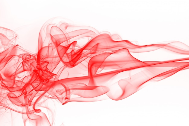 Red smoke abstract on white background, ink water