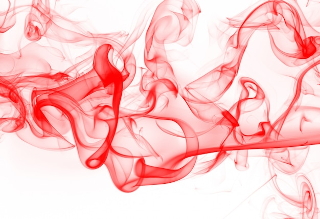 Red smoke abstract on white background