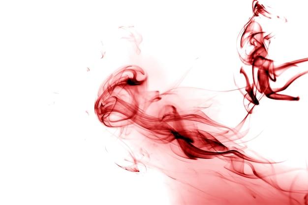 Red smoke on white background