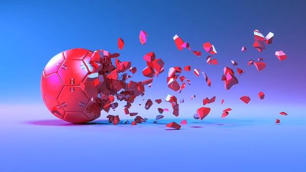 Красный футбольный мяч разбивается на мелкие кусочки в неоновом освещении, 3d иллюстрация