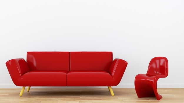 Red sofa and chair. 3d rendering