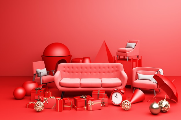 Red sofa and a lot of giftbox and geometric shape on red background 3d rendering