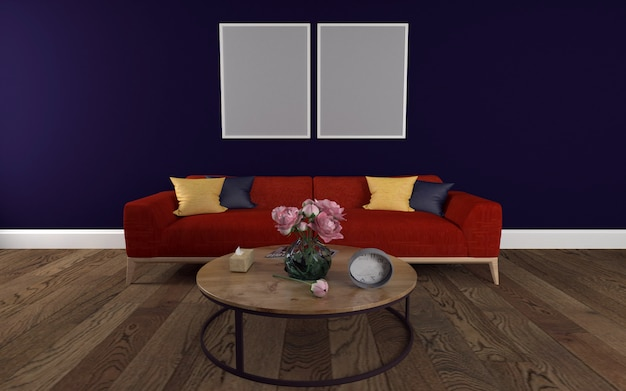 Red sofa with round table and wall frame mockup of 3d rendered interior of modern living room