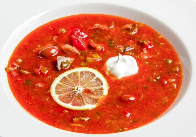 Red soup with beans