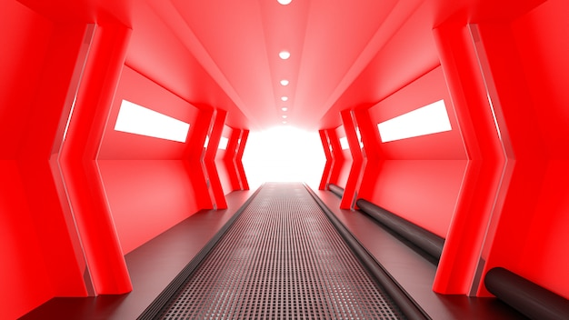Red spaceship sci-fi corridor.