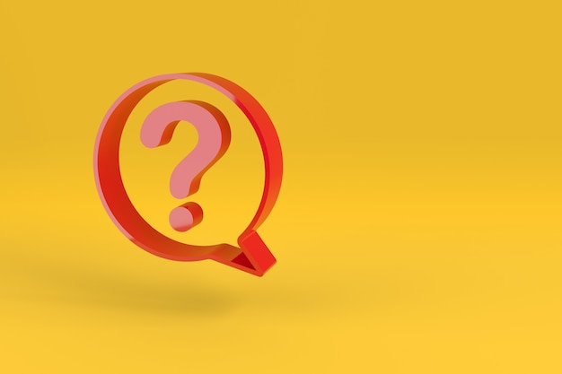 Red speech balloon with a question mark on yellow background.