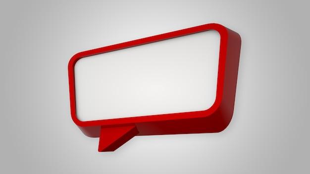 Красный пузырь речи на белом. 3d визуализация