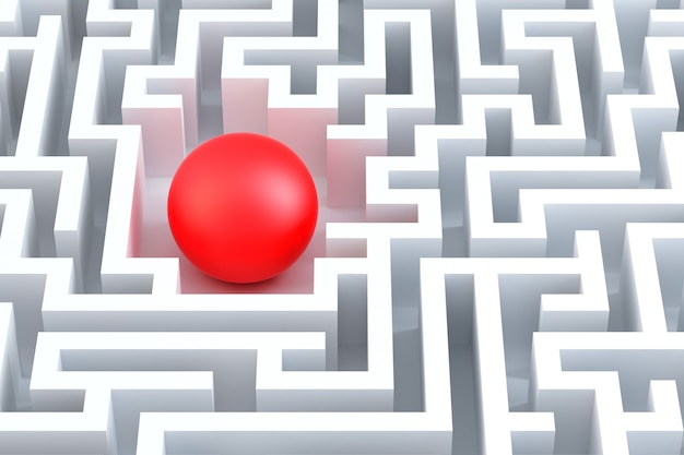 Red sphere in an abstract maze. 3d illustration