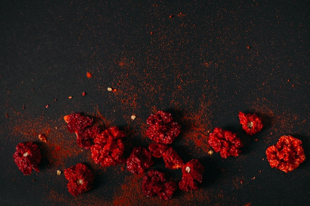 Red spicy dry carolina reaper. dark food photography. copy space.
