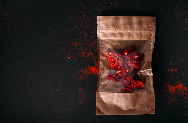 Red spicy dry carolina reaper in packgage.