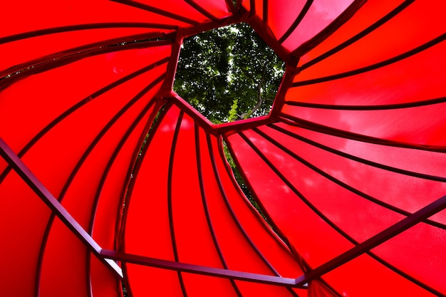 Red spiral ceiling, red tent, red spiral