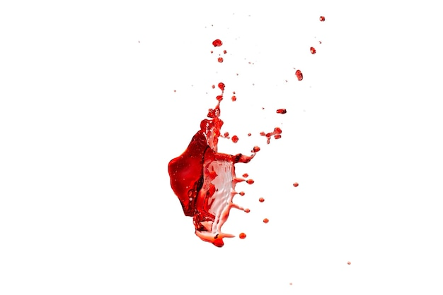 Red splashes isolated on white background. copy space.