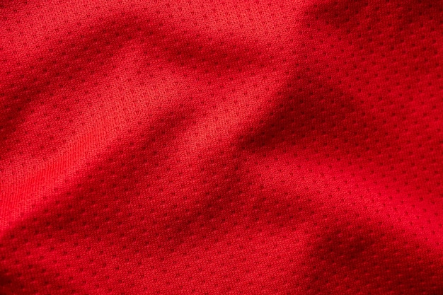 Red sporting fabric with air mesh texture