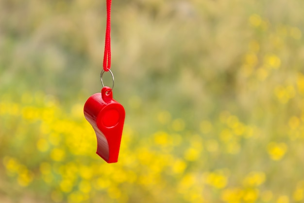 Red sports whistle on a background of yellow flowers.