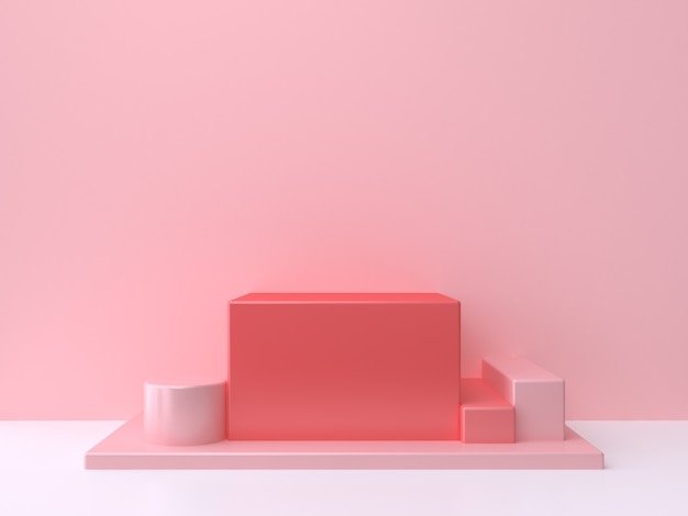 Red square-cube podium pink wall white floor 3d rendering minimal abstract background