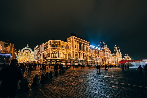 Red square in moscow decorated for new year