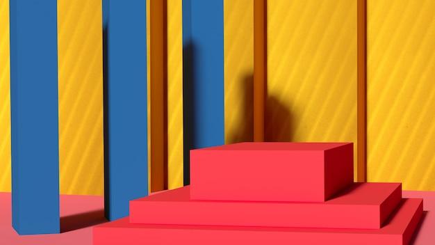 노란색 배경에 빨간색 사각형 연단입니다. 3d 렌더링
