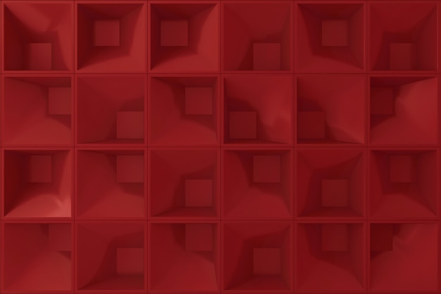 Red square shape 3d wall for background.