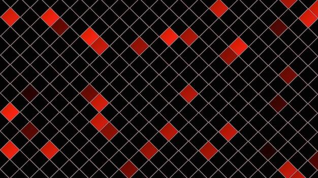 赤い四角のパターン、抽象的な背景。ビジネスのためのエレガントで豪華なダイナミックな幾何学的なスタイル、3dイラスト