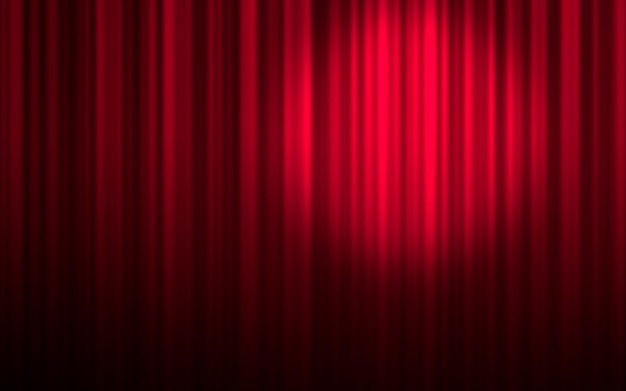 Red stage theatre curtain with spotlight