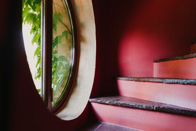 Red stairs in a house. window with plants by the stairs. home, indoors and decoration concept