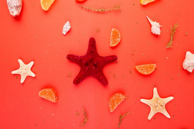 Red starfish background. summer vacation . flat lay.