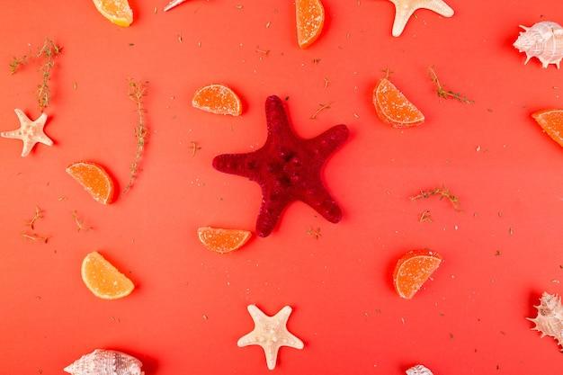 Red starfish background
