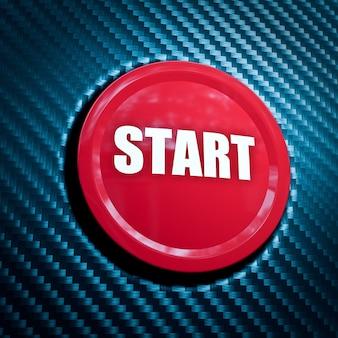 Красная кнопка запуска на фоне углеродного волокна